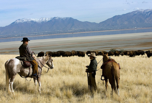 Djamila Grossman  |  The Salt Lake TribunePaul Deputy, left, and Paul Kern, with the Backcountry Horsemen take a lunch break during the 24th annual bison roundup on Antelope Island, Friday, October 29, 2010.