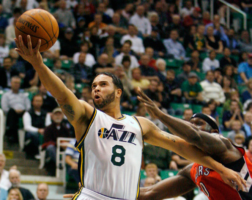 Steve Griffin  |  The Salt Lake Tribune  Utah Jazz guard Deron Williams glides to the basket for a layup during first half action of the Jazz versus Toronto basketball game at EnergySolutions Arena in Salt Lake City Wednesday, November 3, 2010.