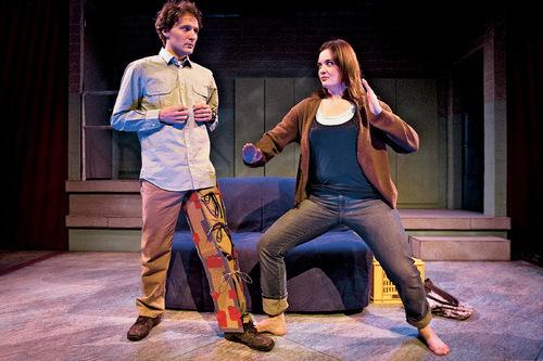 Chris Detrick  |  The Salt Lake Tribune  David Fetzer 'Jules' and Emily Burnworth 'Jo' act out a scene of