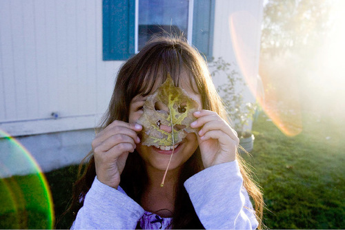 Djamila Grossman  |  The Salt Lake Tribune   Ashley Chambers, 8, smiles as she holds a leaf in front of her face at her family's Wellington home on Thursday.