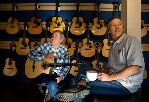 Djamila Grossman  |  The Salt Lake TribunePark City Mayor Dana Williams and Larry Hart run Riffs, a guitar school, store and coffee shop in Park City. They chat as they pose for a portrait Wednesday, November 3, 2010. Hart owns the place and Williams is the co-manager.