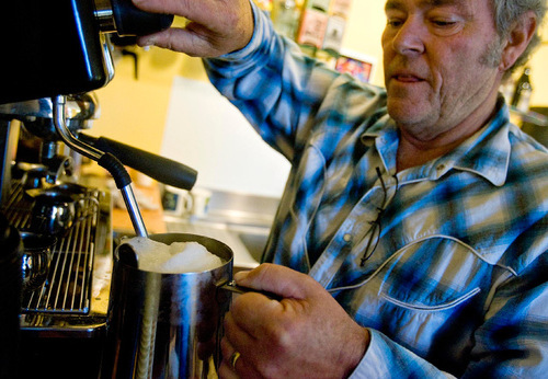 Djamila Grossman  |  The Salt Lake Tribune  Park City Mayor Dana Williams makes a coffee at Riffs, a guitar school, store and coffee shop in Park City, Wednesday, November 3, 2010. Williams is the co-manager of the place, owned by his friend Larry Hart.