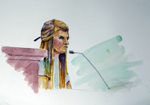 Mary Katherine Smart takes the witness stand and testifies about the night her sister, Elizabeth Smart, was abducted in this courtroom sketch Monday, Nov. 8, 2010 in Salt Lake City. Opening arguments in the Brian David Mitchell trial relating to the kidnapping of Elizabeth Smart in 2002 resumed Monday after a three-judge panel of the Federal Appeals Court stopped the trial last Thursday in a motion to have it moved out of Utah.  (AP Photo/Jimmy Lucero)