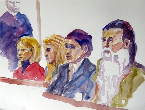 From left, Elizabeth Smart, Mary Katherine Smart, defense attorney Robert Steele, and Brian David Mitchell are depicted in this courtroom sketch Monday, Nov. 8, 2010 in Salt Lake City. Opening arguments in the Brian David Mitchell trial relating to the kidnapping of Elizabeth Smart in 2002 resumed Monday after a three-judge panel of the Federal Appeals Court stopped the trial last Thursday in a motion to have it moved out of Utah.  (AP Photo/Jimmy Lucero)