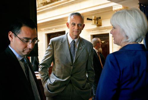 FILE PHOTO   The Salt Lake Tribune Senate President Michael Waddoups, center.