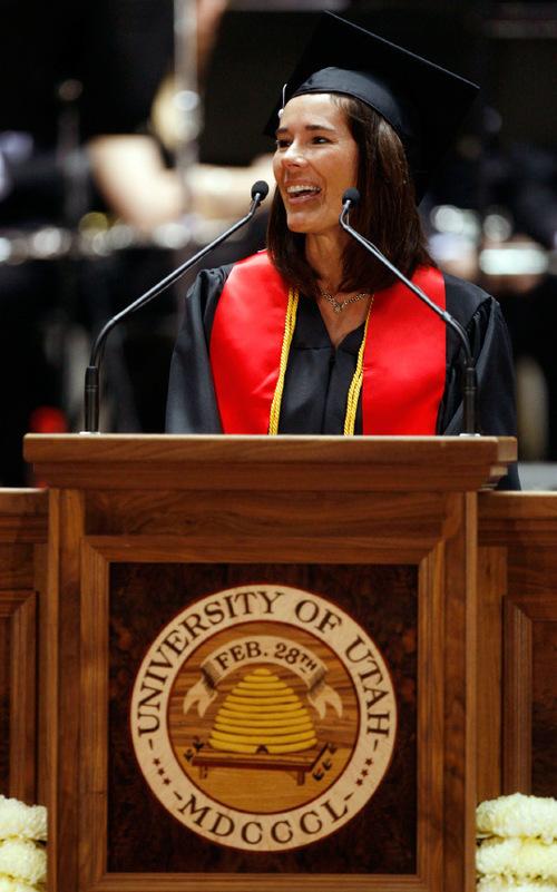 Francisco Kjolseth  |  The Salt Lake Tribune  The University of Utah student speaker Jody White Farley addresses her fellow classmates as the U. holds the annual commencement ceremonies at the Jon M. Huntsman Center on Friday, May 7, 2010.