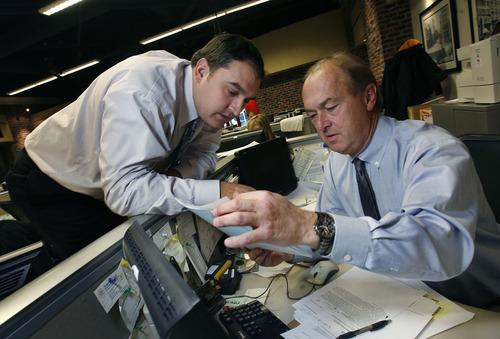 Scott Sommerdorf  l  The Salt Lake Tribune Matt Gephardt (left) confers with his father Bill Gephardt, of