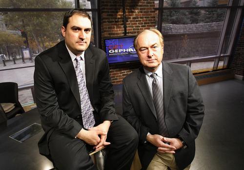 Scott Sommerdorf  l  The Salt Lake Tribune Matt Gephardt (left), with his father Bill Gephardt, on the set of