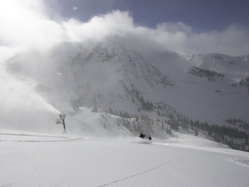 Early bird skier take advantage of recent snowfall Tuesday at Snowbird. Early snow and cold weather allowed Snowbird to move up its open date by one week to Saturday, Nov. 13. Courtesy Snowbird Ski and Summer Resort