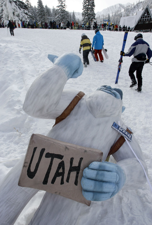 Francisco Kjolseth  |  The Salt Lake Tribune A caricature of Ski Utah's Yeti mascot, seen thumbing a ride to Utah, was set up near the base of Majestic lift at Brighton Resort, which kicked off the 2010-11 ski season with its Thursday opener. Two more Utah resorts open this weekend.