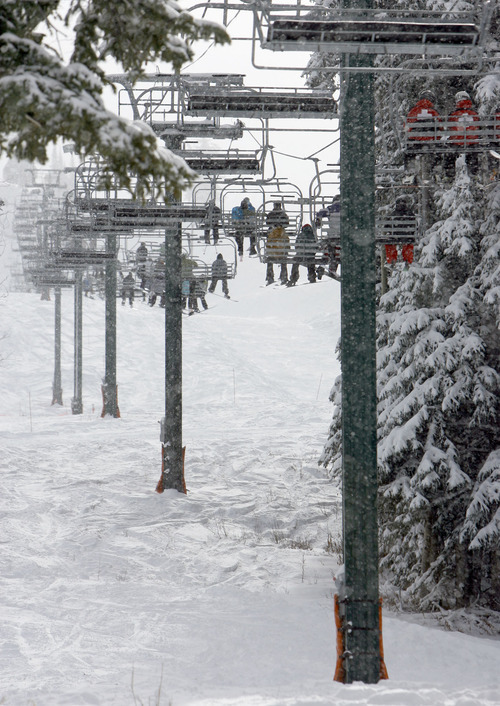 Francisco Kjolseth  |  The Salt Lake Tribune Brighton Resort's Majestic chairlift is basically full Thursday morning as the first day of the 2010-11 ski season offered skiers and snowboarders slopes that were covered with snow from one tree line to the other.