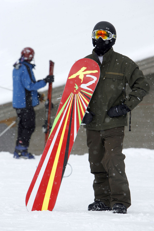 Francisco Kjolseth  |  The Salt Lake Tribune Troy Allen of Sandy takes in the first day of the 2010-11 ski season at Brighton Resort, the first to open in Utah. Solitude Mountain Resort, where Allen will work this winter, opens on Friday.