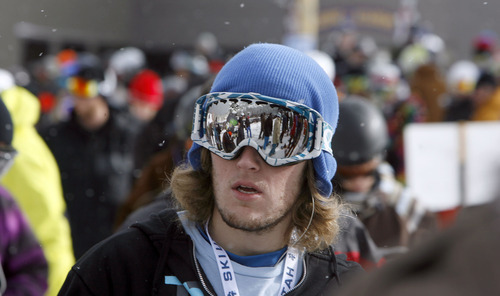 Francisco Kjolseth  |  The Salt Lake Tribune Nate Blouin, formerly of New Hampshire, waits to get on the mountain as crowds gathered Thurdsay morning at Brighton Resort's Majestic lift. Brighton was the first resort in Utah to open in Utah for the 2010-11 ski season.