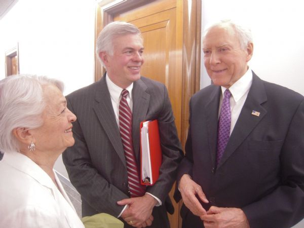 Scott Matheson Jr., center, chats recently with his mother, Norma Matheson, and Sen. Orrin Hatch, R-Utah, after a Senate Judiciary Committee hearing on Scott Matheson's nomination to the 10th Circuit Court of Appeals. Hatch is vowing to press for a vote soon in the full Senate. THOMAS BURR | The Salt Lake Tribune