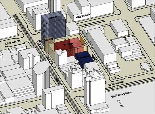 Hamilton Partners plans to build a 25-floor high rise at 100 South and Main Street that would connect to a planned Broadway-style play house on Main Street.