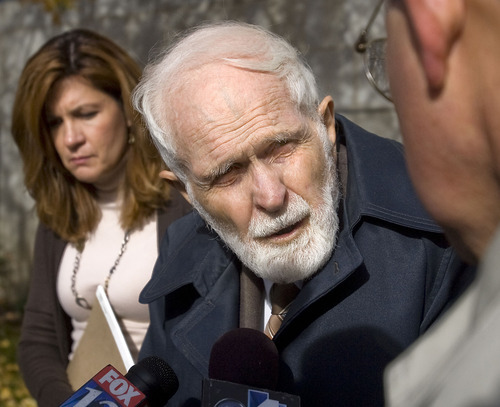Al Hartmann  |  The Salt Lake Tribune Shirl Mitchell, 87, father of Brian David Mitchell speaks to the media as he  leaves the Frank Moss Federal Building in Salt Lake City on Wednesday November 17th.  He testified for the defense.