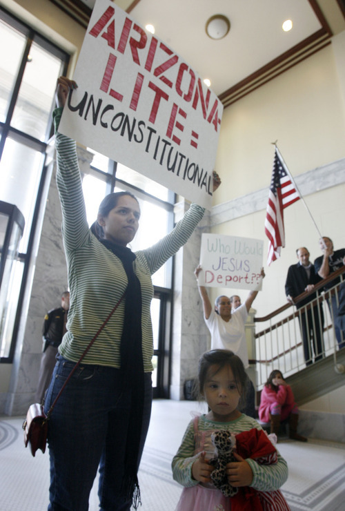 Francisco Kjolseth  |  The Salt Lake Tribune Sarai Frost, with the group United for Social Justice, alongside her daughter Jaceline, 3, expresses her opposition to Rep. Stephen Sandstrom's immigration bill during a press conference at the Utah State Capitol.  Salt Lake City Nov. 17, 2010.