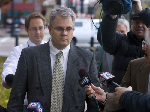 Al Hartmann     The Salt Lake Tribune Tim Mitchell, brother  of Brian David Mitchell, leaves the Frank Moss Federal Courthouse in Salt Lake City on Thursday, Nov. 17.  He testified for the defense.  He had no comments for the media.