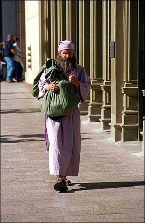 This is a photo of Brian David Mitchell walking down the street. It was an exhibit in his trial.
