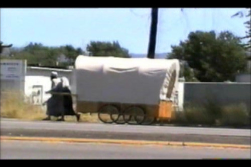 This court exhibit shows Brian David Mitchell and Wanda Barzee pulling their handcart.