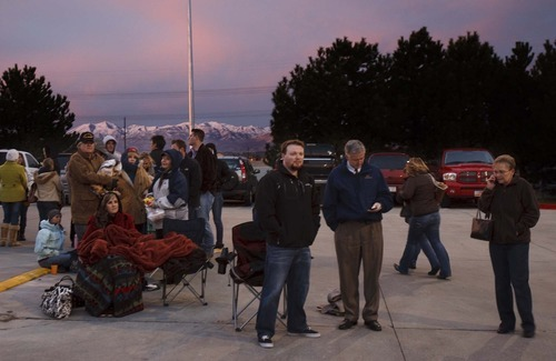 Trent Nelson  |  The Salt Lake Tribune Hundreds of people were in line at dawn at Coscto in Sandy on Friday, Nov. 19, 2010, waiting for a chance to have a book signed by former President George W. Bush. By 7 a.m., the line reached most of the way around the building.