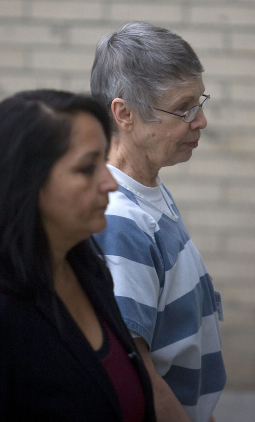 Al Hartmann  |  The Salt Lake Tribune Wanda Barzee enters the Frank Moss Federal Court in Salt Lake City on Friday, Nov. 19 to testify for the defense in the Brian David Mitchell trial.