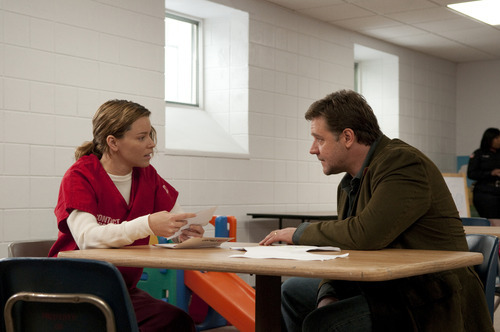 In this film publicity image released by Lionsgate, Elizabeth Banks, left, and Russell Crowe are shown in a scene from
