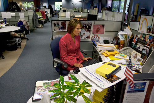Chris Detrick  |  The Salt Lake Tribune Nadine Wimmer works in the newsroom before the KSL 5 newscast at 6 p.m. on Aug. 24, 2010.