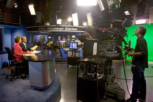 Chris Detrick  |  The Salt Lake Tribune Bruce Lindsay and Nadine Wimmer during KSL 5 Television's Eyewitness News 6 p.m. newscast Tuesday at the KSL Studio.