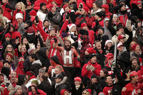 Trent Nelson  |  The Salt Lake Tribune  Utah fans celebrate as the Utes face BYU in the second half at Rice-Eccles Stadium Saturday, November 27, 2010.