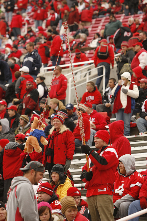 Trent Nelson  |  The Salt Lake Tribune  A Utah fan waves a toy cougar on the end of a noose as the Utes face BYU in the first quarter at Rice-Eccles Stadium Saturday, November 27, 2010.