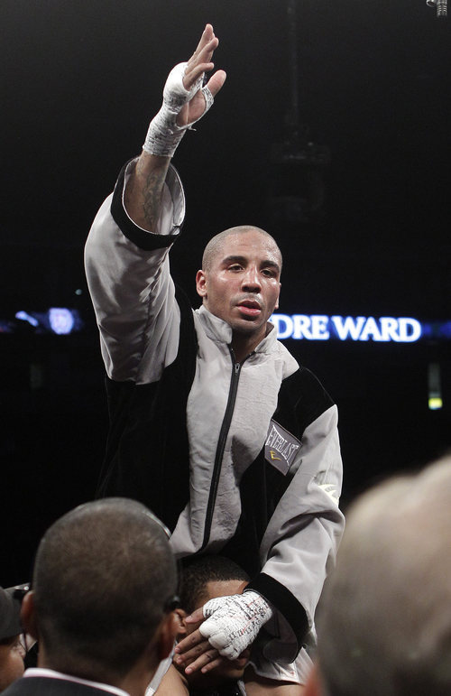 Andre Ward celebrates after beating Sakio Bika during their WBA super middleweight boxing bout in Oakland, Calif., Saturday, Nov. 27, 2010. Ward won by unanimous decision to retain his title. (AP Photo/Jeff Chiu)