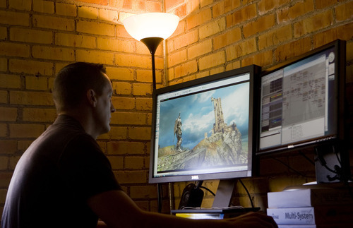 Al Hartmann     The Salt Lake Tribune  Nathan Trewartha, lead artist for Chair Entertainment works on an upcoming version of Infinity Blade, a 3D game app on the IPhone.