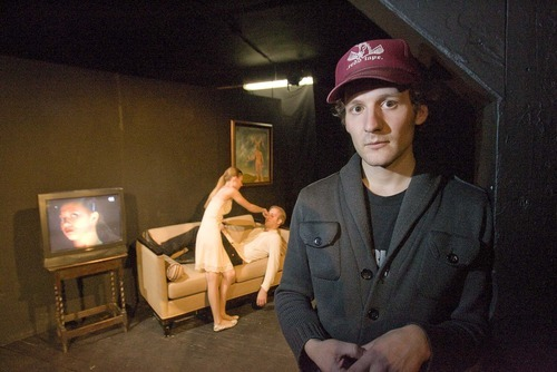 Paul Fraughton  |  The Salt Lake Tribune    David Fetzer, founder of The New Works Theatre Machine, stands in front as actors Rhiannon Ross, Tyson Brett and Maren Erickson (on screen) rehearse a scene from the play
