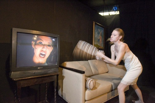 Paul Fraughton | The Salt Lake Tribune  Rhiannon Ross and Maren Nazera Erickson (on screen) rehearse a scene from the  New Works Theatre Machine's production of