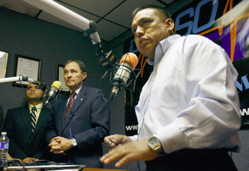 STEVE GRIFFIN  |  Tribune File Photo Tony Yapias, right, has come out in opposition to the immigration bill of Sen. Luz Robles. Yapias says it does not offer a practical solution to the undocumented immigration issue. The leader of Projecto Utah is pictured here interviewing Gov. Gary Herbert on a radio program.