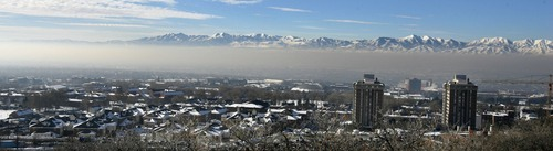 Steve Griffin  |  The Salt Lake Tribune   The foothills above the University of Utah campus is bathed in sunlight as the rest of the Salt Lake valley is covered by inversion Thursday, December 2, 2010.