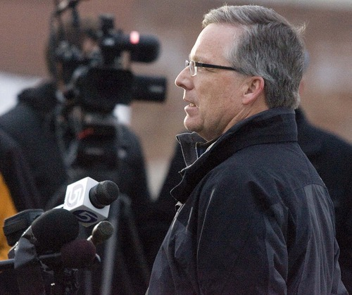Paul Fraughton  |  The Salt Lake Tribune  Manager of the Chevron refinery, Mark Sullivan talks at a press conference near the site of the second Red Butte oil spill on  Thursday,December 2, 2010