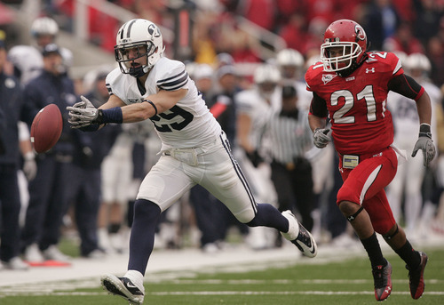 Trent Nelson     The Salt Lake Tribune  BYU receiver Luke Ashworth (29) comes up short on a pass as he is pursued by Utah Utes cornerback Lamar Chapman #21 as the Utes face BYU in the second half at Rice-Eccles Stadium Saturday, November 27, 2010.