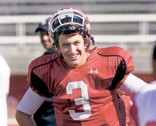 Steve Griffin  |  The Salt Lake Tribune Utah quarterback Jordan Wynn smiles after his first rotation during the University of Utah football scrimmage at Rice Eccles Stadium inSalt Lake City on Thursday, August 12, 2010.