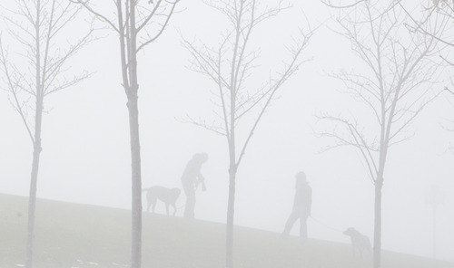 Keith Johnson  |  The Salt Lake Tribune  A couple walk their dogs in the thick fog enveloping the area surrounding the Utah State Capitol on Sunday, December 5, 2010.