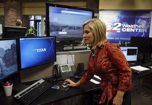 Trent Nelson     The Salt Lake Tribune Meteorologist Debbie Worthen works on a broadcast of 2News at Noon at the KUTV studio on Tuesday, Nov. 30, 2010. During the November sweeps, KUTV was No. 1 nearly across the board, but this is not a recent phenomenon.