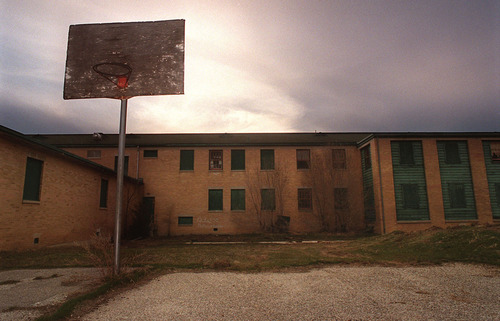 An empty play ground on the historic Intermountain Indian School in Brigham City. Crews will soon be demolishing the buildings. ryan galbraith/photo  3.15.01