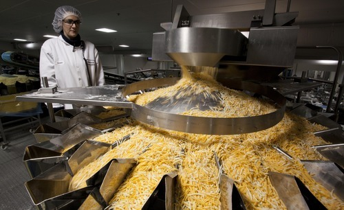Annette Eigenberger watches shredded cheese come out of a chute at the Sargento Cheese Company Friday, Nov. 12, 2010, in Plymouth, Wis. While the sluggish economy has taken a toll on manufacturing and related industries, one sector has remained a bright spot over the last few years: food production. (AP Photo/Morry Gash)