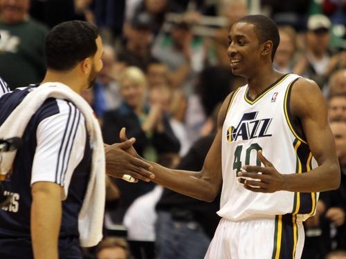 Rick Egan      The Salt Lake Tribune  Utah Jazz forward Jeremy Evans (40),  reacts after a big dunk in NBA action, Utah Jazz vs. The Golden State Warriors,  Monday, December 13, 2010