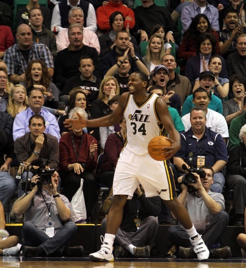Rick Egan      The Salt Lake Tribune  Utah Jazz forward C.J. Miles (34) reacts as he is called for a foul after stealing the ball on a Warrior fast brea,  in NBA action, Utah Jazz vs. The Golden State Warriors,  Monday, December 13, 2010