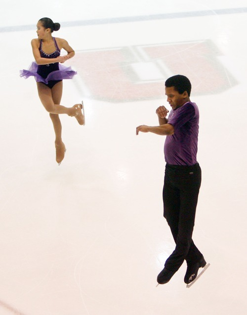 Steve Griffin  |  The Salt Lake Tribune   Gabrielle Smeenge and Micahel Johnson spin in the air during the intermediate pairs event at the U.S. Junior Figure skating championships at the Salt Lake City Sports Complex  Friday, December 17, 2010.