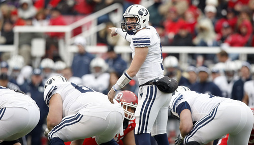 Chris Detrick  |  The Salt Lake Tribune  BYU quarterback Jake Heaps (9) calls out a play as the Utes face BYU in the second quarter at Rice-Eccles Stadium Saturday, November 27, 2010.
