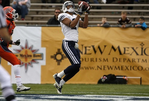 Trent Nelson  |  The Salt Lake Tribune BYU receiver Cody Hoffman (2) pulls in a touchdown pass in the first half as BYU faces UTEP in the New Mexico Bowl, college football Saturday, December 18, 2010 in Albuquerque, New Mexico.