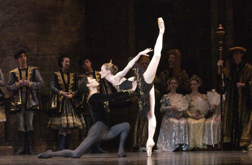 Former Ballet West principal artist Maggie Wright with Tong Wang in the 2002 production of Jonas Kage's